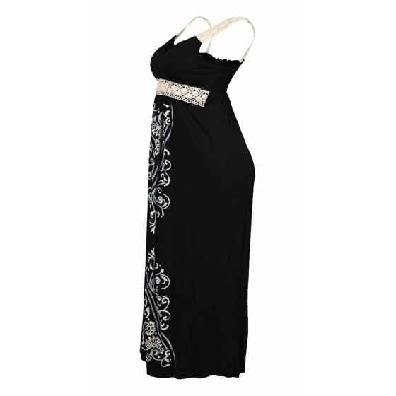 6c2ae290bbb eVogues Apparel - Plus Size Embroidery Print Empire Waist Maxi Dress ...