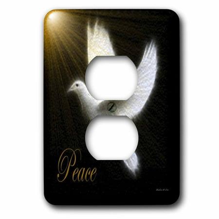 Dove Bird Saddle Plug - 3dRose Peace Dove - Black - White -Gold - Bird Art - 2 Plug Outlet Cover (lsp_6580_6)