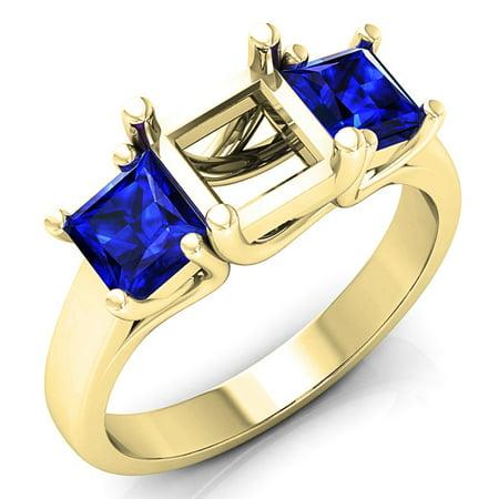 Dazzlingrock Collection 1.40 Carat (ctw) 14K Princess Blue Sapphire Semi Mount Bridal Engagement Ring, Yellow Gold, Size 7.5 14k Gold Semi Mount Ring