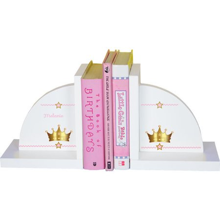 - Personalized Pink Princess Crown Childrens Bookends