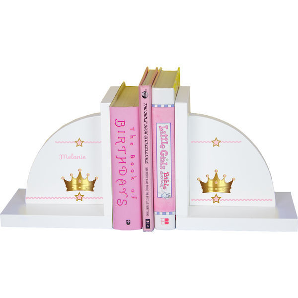 Personalized Pink Princess Crown Childrens Bookends