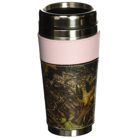 Weber Camo Leather Travel Mug Camo and Pink, 14 oz. stainless steel travel mug features secure lid and sliding drink hole stopper By Weber Camo Leather - Leather Goods Mini