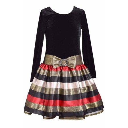 Bonnie Jean Little Girls 2T- 6X Long Sleeve Velvet to Taffeta Holiday Dress 6x Girls Velvet Dress