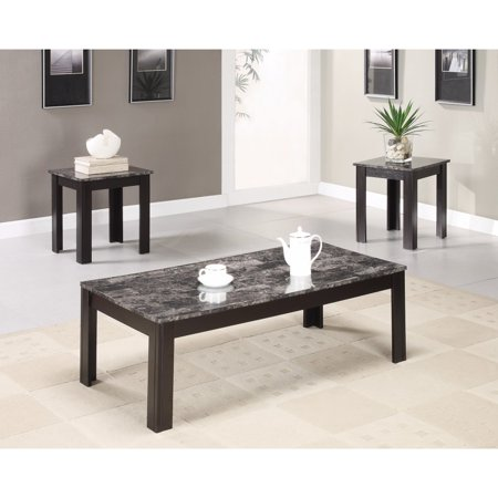Impressive 3 Piece Occasional Table Set with Marble Top, Black ()