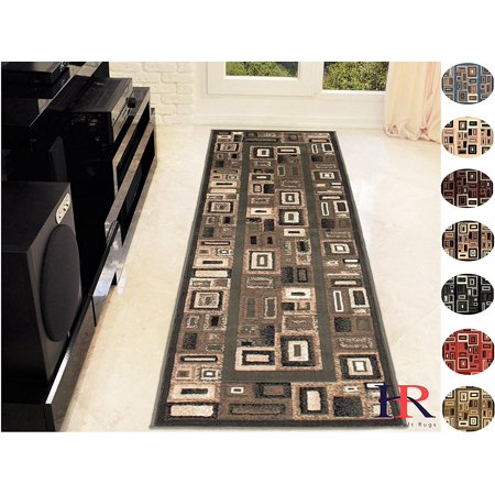 Handcraft Rugs-Modern Contemporary Brand New Area Rugs-Abstract Carpet with Frame/Boxy/Cube Pattern-Shed free Sage Green/Ivory/Mocha(2x7 feet Runner)