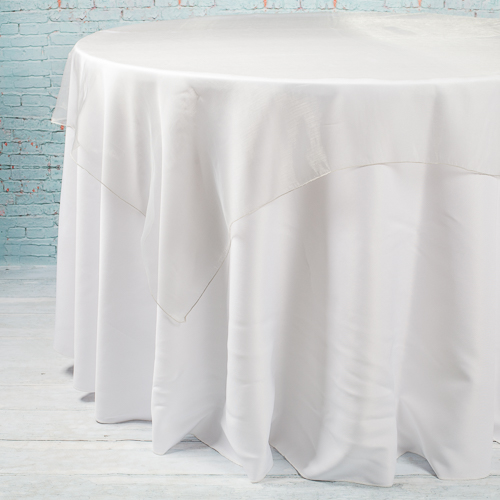 "Richland 60"" x 60"" Silver Organza Table Overlay"