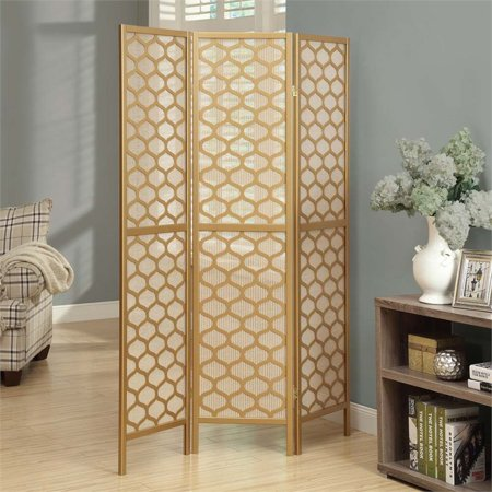 Pemberly Row 3 Panel Lantern Design Room Divider in Gold