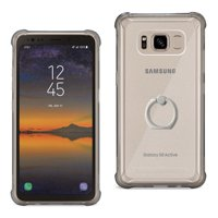 Samsung Galaxy S8 Active Transparent Air Cushion Protector Bumper Case With Ring Holder In Clear Black