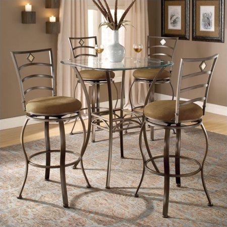 Hillsdale Brookside 5 Piece Bar Height Bistro Table Set With Marin Stools W