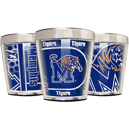 NCAA Memphis Tigers Acrylic and Stainless Steel Shot Glass Set (3-Piece), 2-Ounce, - Ncaa Stainless Shot Glass