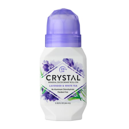 Crystal Mineral Deodorant Roll-On, Lavender & White Tea, 2.25 fl oz - Flat Mineral Crystal