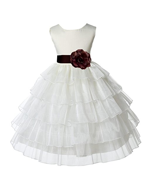 Ekidsbridal Ivory Satin Shimmering Organza Flower Girl Dresses Wedding Pageant Dresses Formal Special Occasion Dresses Holy Communion Baptism Reception Recital Holiday Seasonal Ball Gown 308S