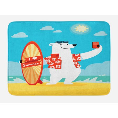 Sea Animals Bath Mat, Polar Bear with I Love Summer Surfboard Taking Selfie at Beach Comic Fun Art, Non-Slip Plush Mat Bathroom Kitchen Laundry Room Decor, 29.5 X 17.5 Inches, Aqua Yellow, Ambesonne