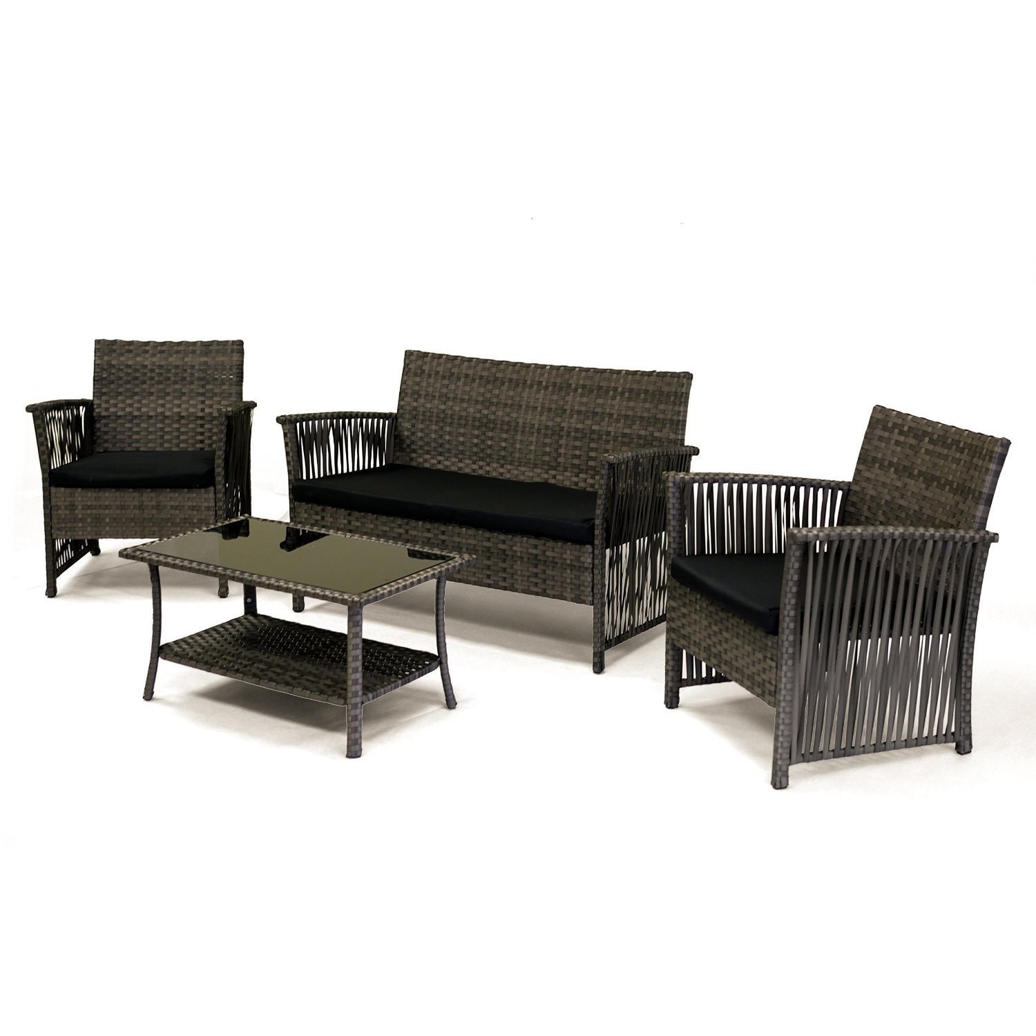 Sol Siesta Manhattan Beach Collection 4 Piece Cushioned Resin Wicker  Outdoor Patio Set