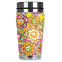 Mugzie brand 16-Ounce Stainless Steel Travel Mug with Insulated Wetsuit Cover - Groovy Daisies