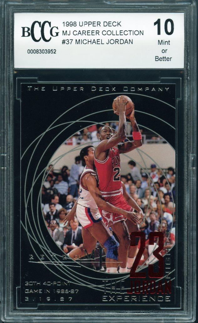 106ee350c007 1998 upper deck mj career collection  37 MICHAEL JORDAN bulls BGS BCCG 10 -  Walmart.com