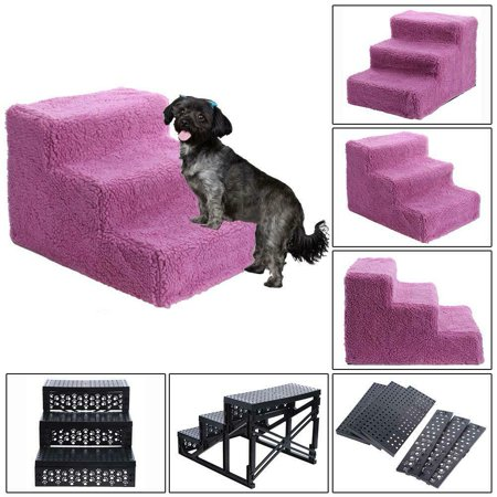 Pet 3-Steps Stairs Soft Portable Cat Dog Ramp Ladder Small Climb With Fleece Cover For Puppy Kitten High Bed Non-Slip-Red ()