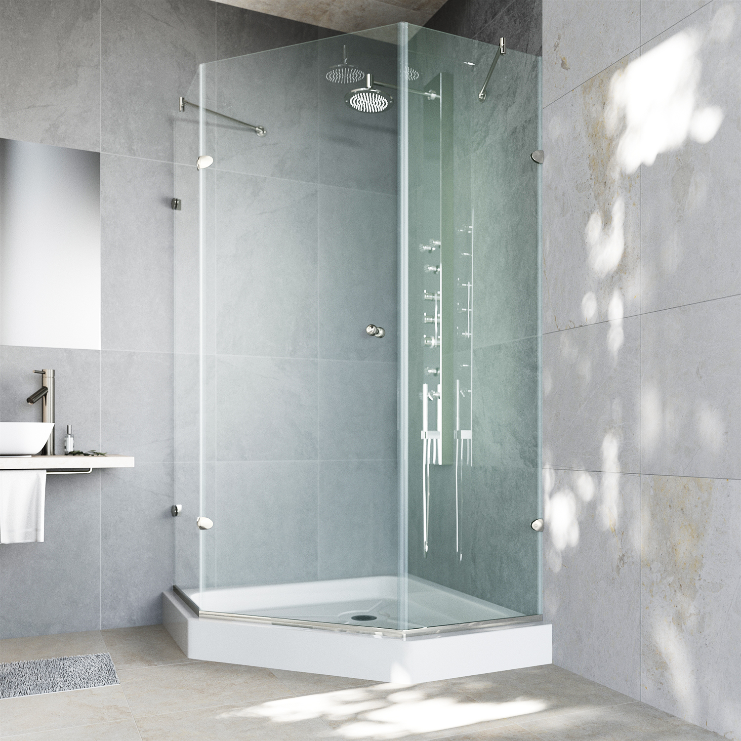 VIGO Verona 42 x 42 Frameless Neo-Angle .375-in. Clear Glass/Brushed Nickel Hardware Shower Enclosure with White Base