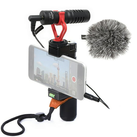 Movo Smartphone Video Rig with Shotgun Microphone, Grip Handle, & Wrist  Strap for iPhone 5, 5C, 5S, 6, 6S, 7, 8, X (Regular and Plus), Samsung  Galaxy,