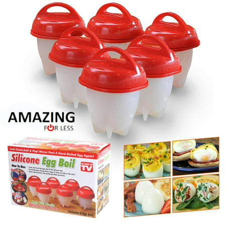 Egglettes Egg Cooker 6 Pack - Hard Boiled Eggs Without the Shell AS SEEN ON TV Egg