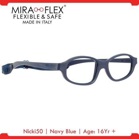 Miraflex: Nicki50 Unbreakable Kids Eyeglass Frames   50/19 - Navy Blue   Age: 16Yr +