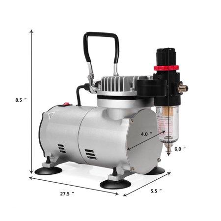 3 Airbrush Compressor Kit Dual-Action Spray Air Brush Set Tattoo Nail Art - image 5 of 10