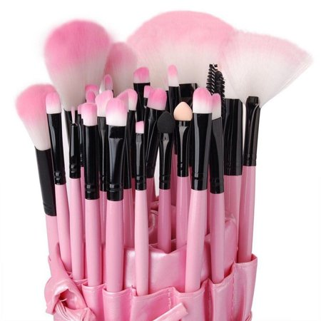 High End 32 Pcs Horse Hair Professional Makeup Brush Set with Pouch, PURPLE - 50s Hair And Makeup