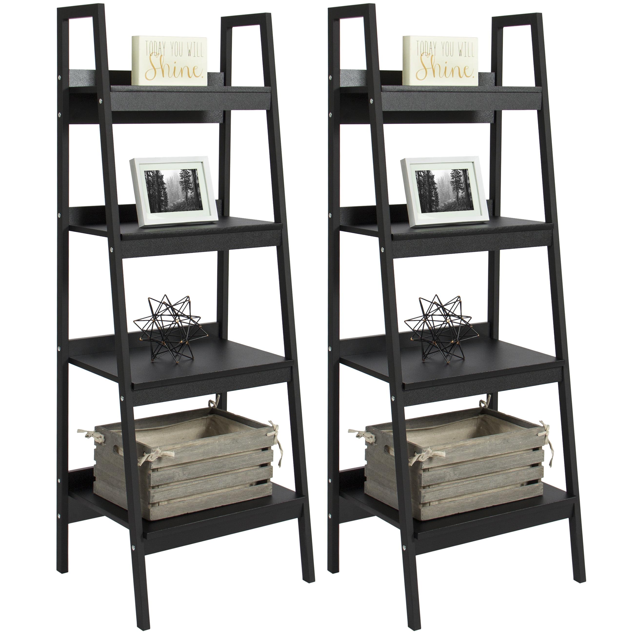 Black Ladder Bookshelf ~ Altra metal ladder bookcase set of black walmart