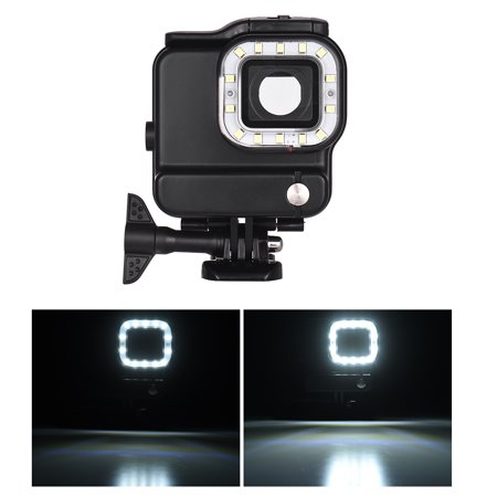 2-in-1 Action Camera Waterproof Housing + LED Diving Fill-in Light 14pcs LEDs 3 Lighting Modes 300LM Underwater 30m with Rechargeable Battery for GoPro Hero 6 5 Sports Cameras (Camera Housing Light)
