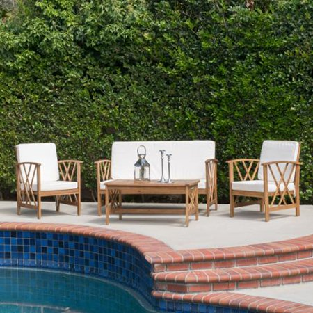 Denise Austin Home Zale Outdoor 4 Piece Chat Set With Cushions