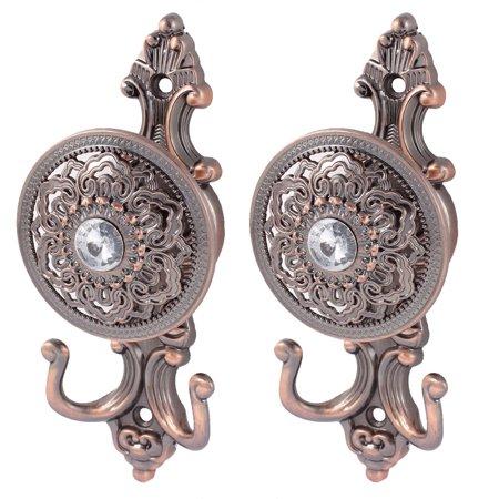 2Pcs European Style Drapery Curtain Tassel Hook Holder Tieback Copper Tone