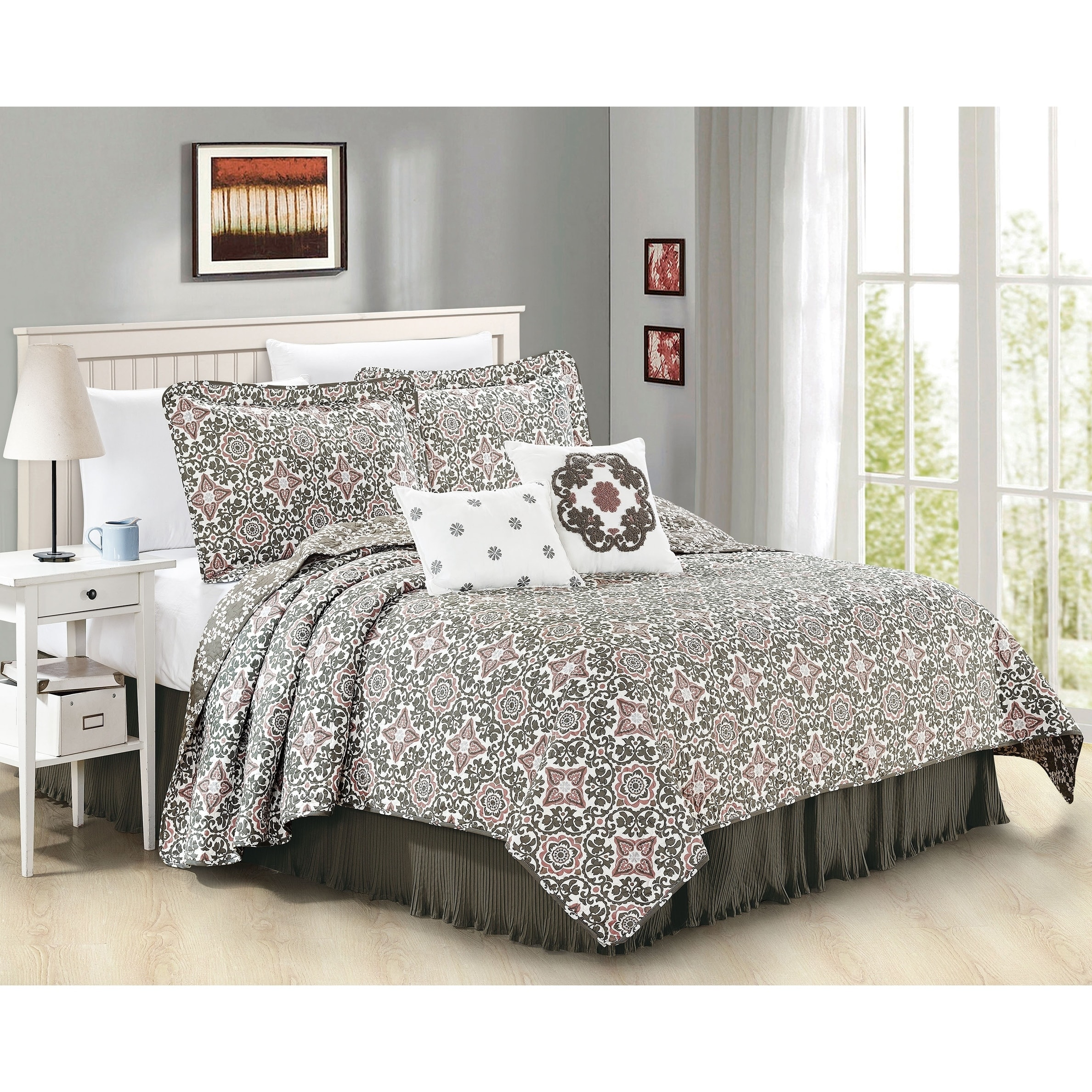 Serenta  6 Piece Coventry Printed Microfiber Quilts Coverlet Set