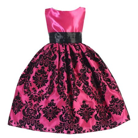 Little Girls Hot Pink Satin Damask Sash Sleeveless Special Occasion Dress 4