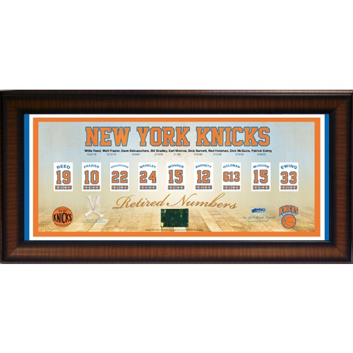 New York Knicks Retired Numbers Framed Pano 14x32 Collage w/ Game Used MSG Court & Net