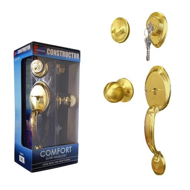 Constructor COMFORT Entry Door Lock Handle Set With Deadbolt Single Cylinder and Knob Polished Brass Finish