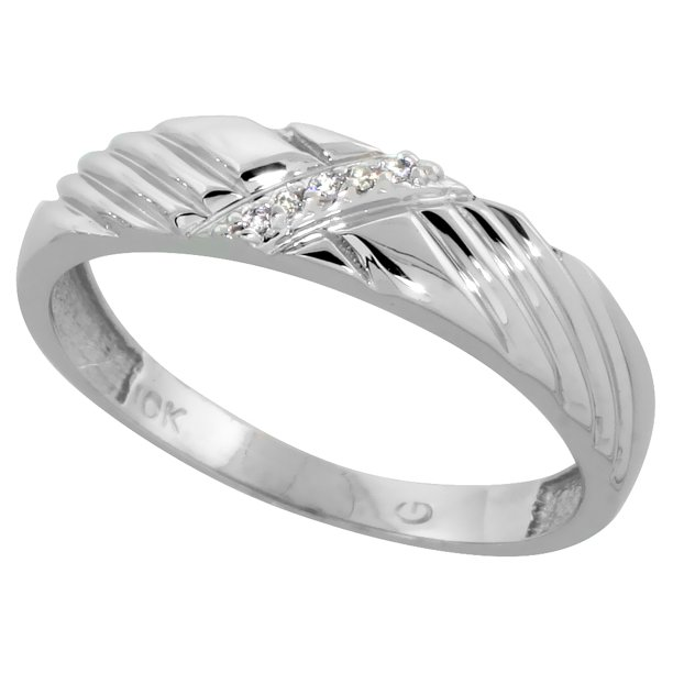 10k White Gold Mens Diamond Wedding Band Ring for Men 0.03 cttw Brilliant Cut 5mm wide Size 12.5