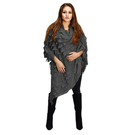 Belted Ruffle Cardigan (Peach Couture Women Trendy Ruffle Batwing Fringe Shawl Wrap Poncho Cape Cardigans Sweater)