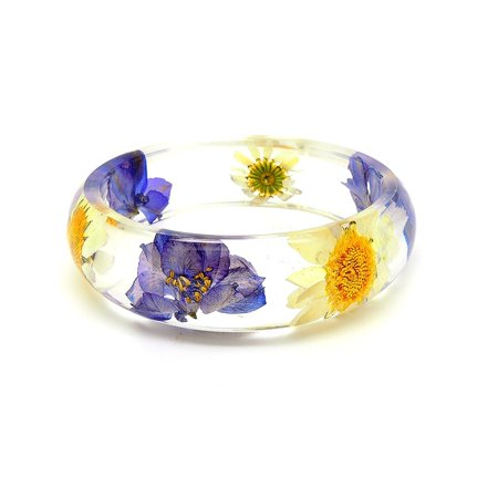 - Ginger Lyne Collection Dried Daisy Purple Flower Acrylic Bracelet Bangle