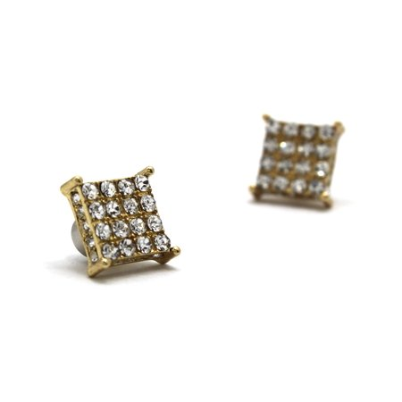 Fan Shape Earrings - 4 Stone Row Square Shape Magnetic Stud Earrings, Gold-Tone