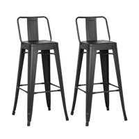 AC Pacific Distressed Metal Barstool with Back, Set of 2, Multiple Colors and Sizes