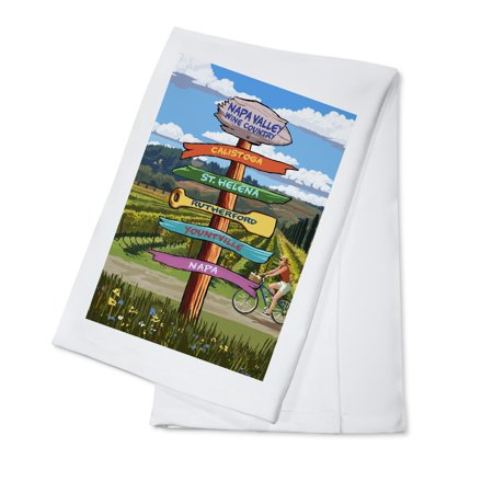 Napa Valley Wine Country, California - Destination Signpost - Lantern Press Artwork (100% Cotton Kitchen (18 Percent Wine)