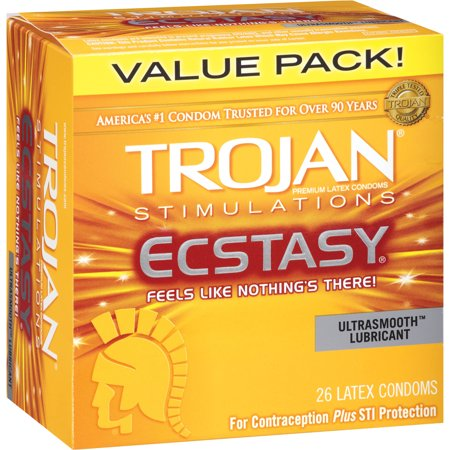 Trojan Ultra Ribbed Ecstacy Lubricated Latex Condoms - 26 ct