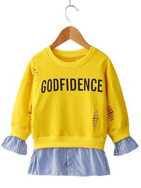 stylesilove Little Girls Stylish Ripped Sweatshirts With Splice Hem (120/5-6 Years, Yellow)