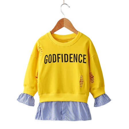 stylesilove Little Girls Stylish Ripped Sweatshirts With Splice Hem (120/5-6 Years, Yellow)