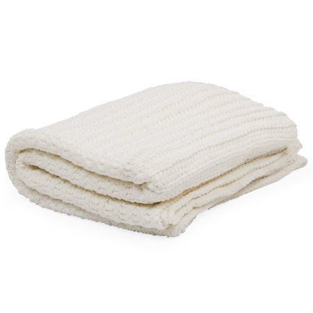 MoDRN Scandinavian Chenille Throw Blanket, Cream (Micro Chenille Throw)
