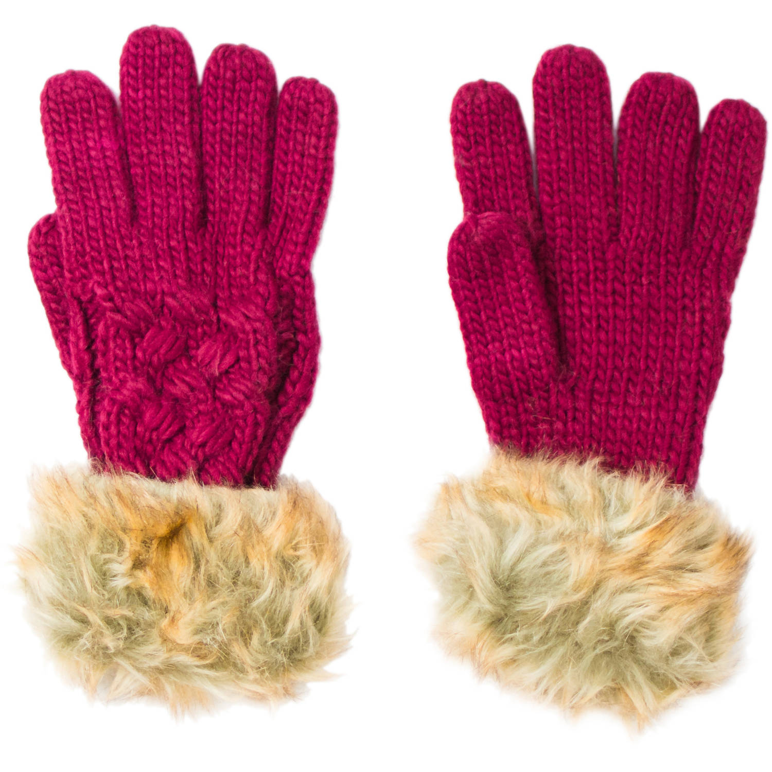 Faded Glory Women's Cable Knit Fur Trim  Glove