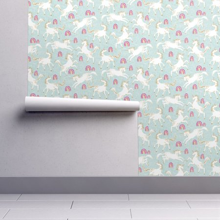 Removable Water-Activated Wallpaper Unicorn Unicorn Rainbow Blue Unicorn Duck](Donald Duck Halloween Wallpaper)