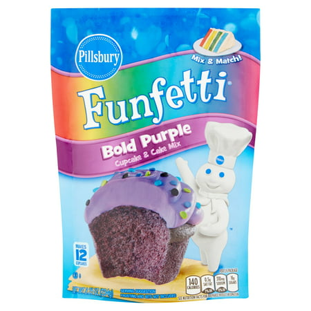 (3 Pack) Pillsbury Funfetti Bold Purple Cupcake & Cake Mix, 8.25