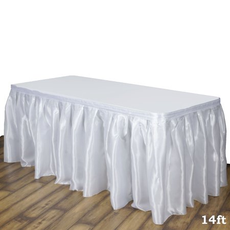 Efavormart Wholesale Premium Satin Table Skirt for Kitchen Dining Catering Wedding Birthday Party Decorations - Tutu Table Skirt For Sale