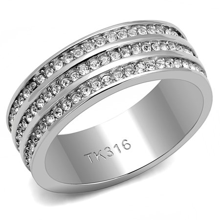 Women's 316L Stainess Steel Synthetic Crystal Triple Row Eternity Ring Band